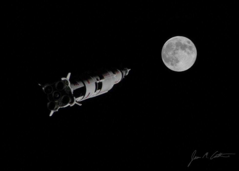 Saturn V on the way to the moon