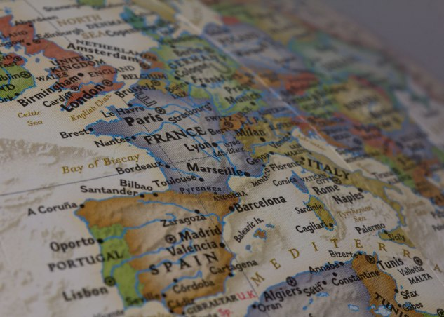 Western Europe on the Globe