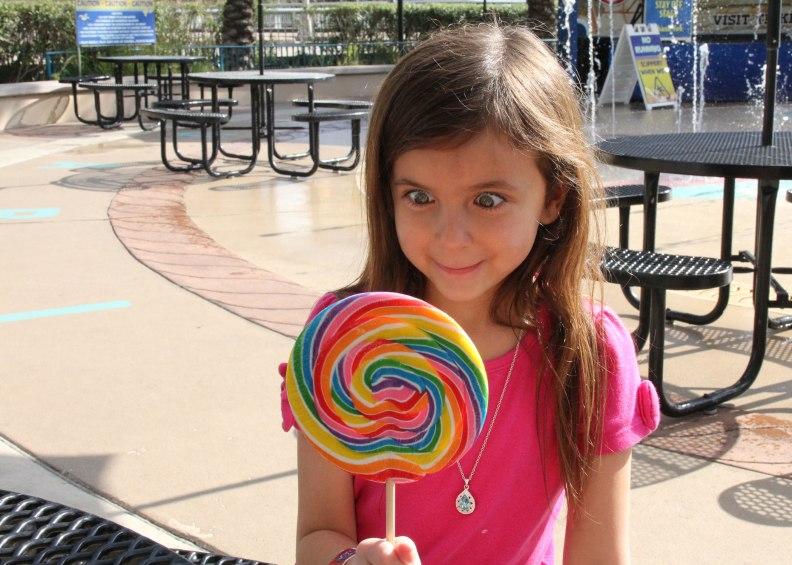 Big eyes and a big lollipop