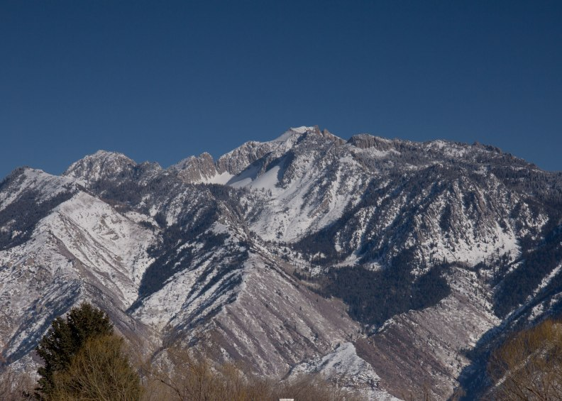 Lone Peak covered in snow