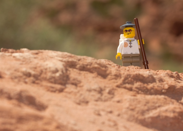 Lego hiker reaches top