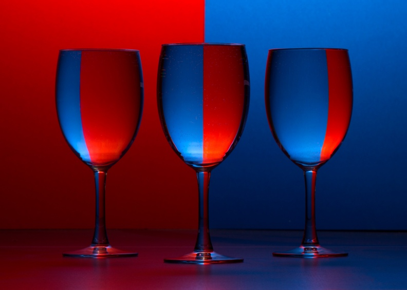 Goblets in blue and red