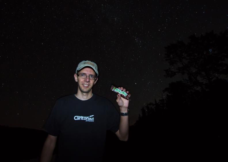 Milky way candy bar photo under stars with Carltonaut