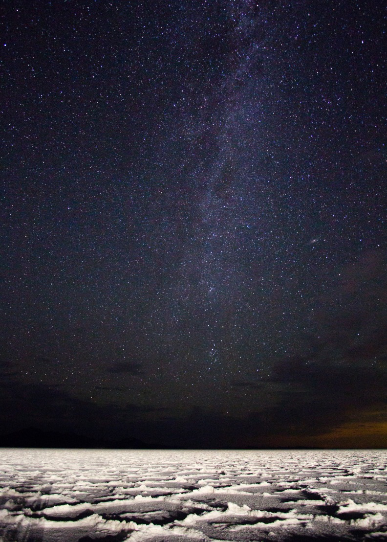 Milky Way stars over Bonneville Salt Flats