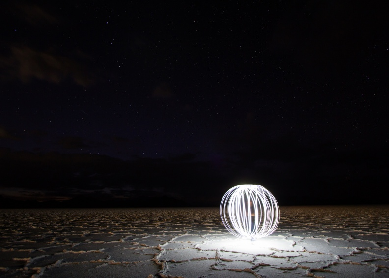 light painting orb photo bonneville salt flats stars