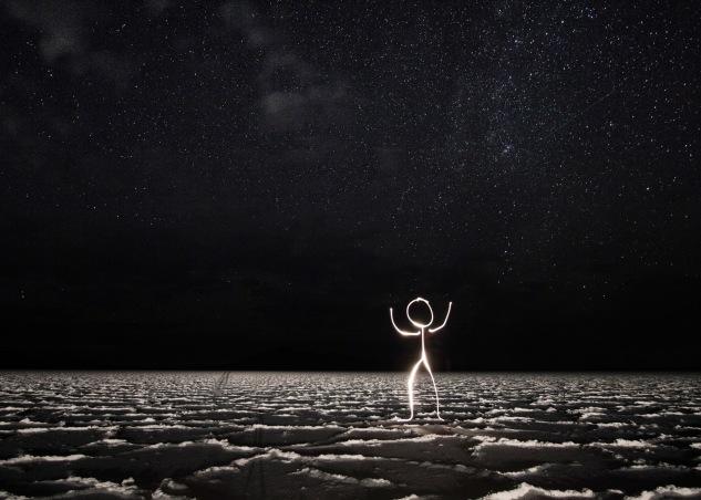 Light stick man photo under the stars