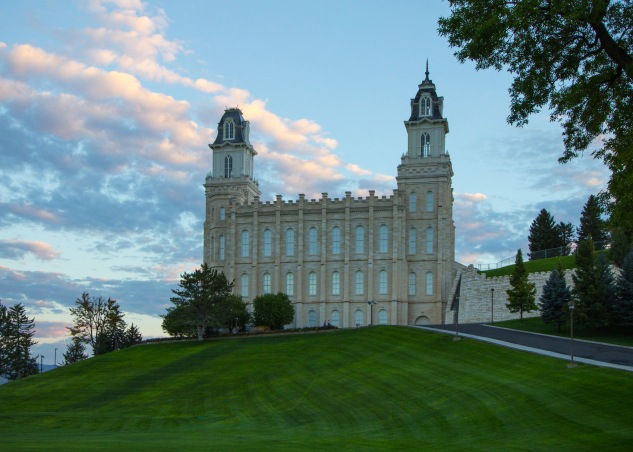 Manti Utah temple grounds sunrise