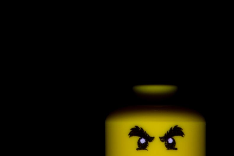 Photo of spooky Lego minifigure eyes