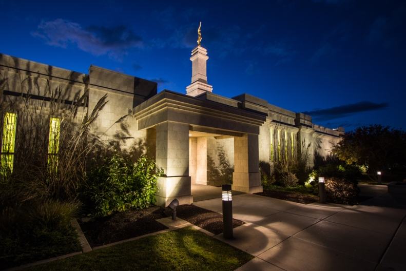 Photograph Monticello Utah Temple after sunset