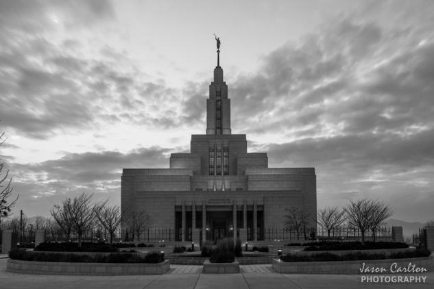 photograph Draper Utah Temple black and white