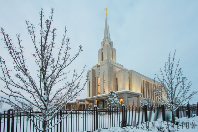 photo winter Oquirrh Mountain Temple LDS Mormon snow sunrise