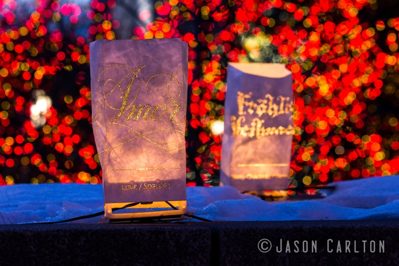 photo lights Temple Square Amor Spanish bokeh Christmas
