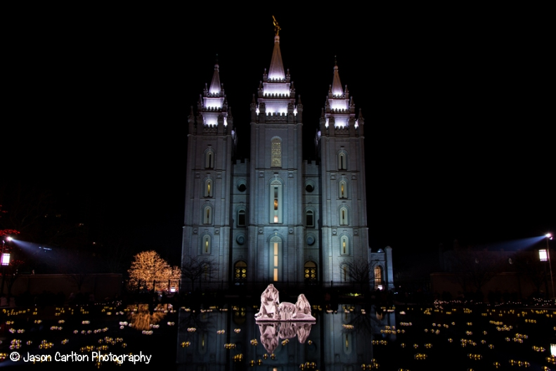 photo nativity Temple Square Christmas lights reflection