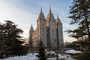 photo Salt Lake Temple sunset downtown Temple Square winter