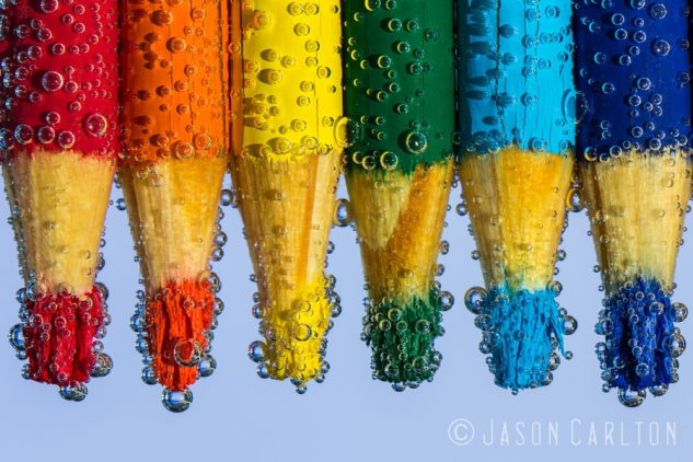 photo colored pencils water bubbles macro