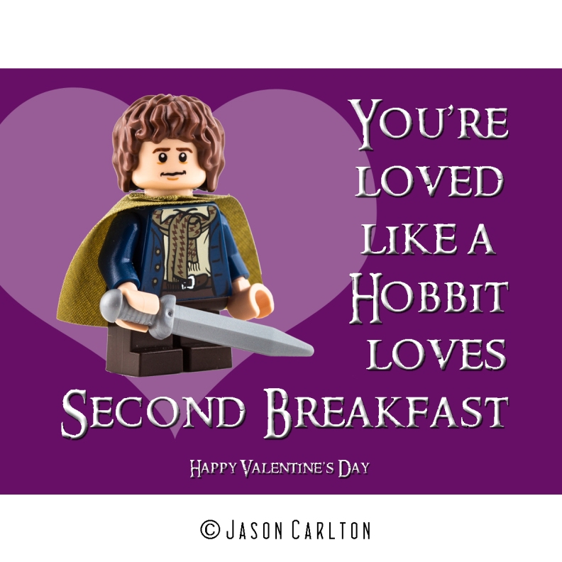 Lego Hobbit Valentines Day card Loves second breakfast