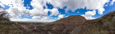 panoramic photo Parley's Canyon entrance clouds and sky