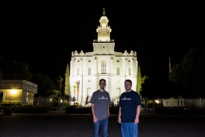 Brothers at St George Utah Temple at Night