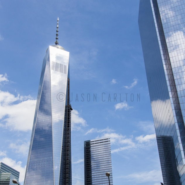 Photo of reflections in windows of Freedom Tower in NYC