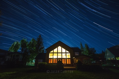Star trail photo of cabin at Bear Lake