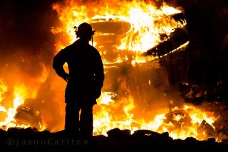 firefighter silhouette Utah fire tanker
