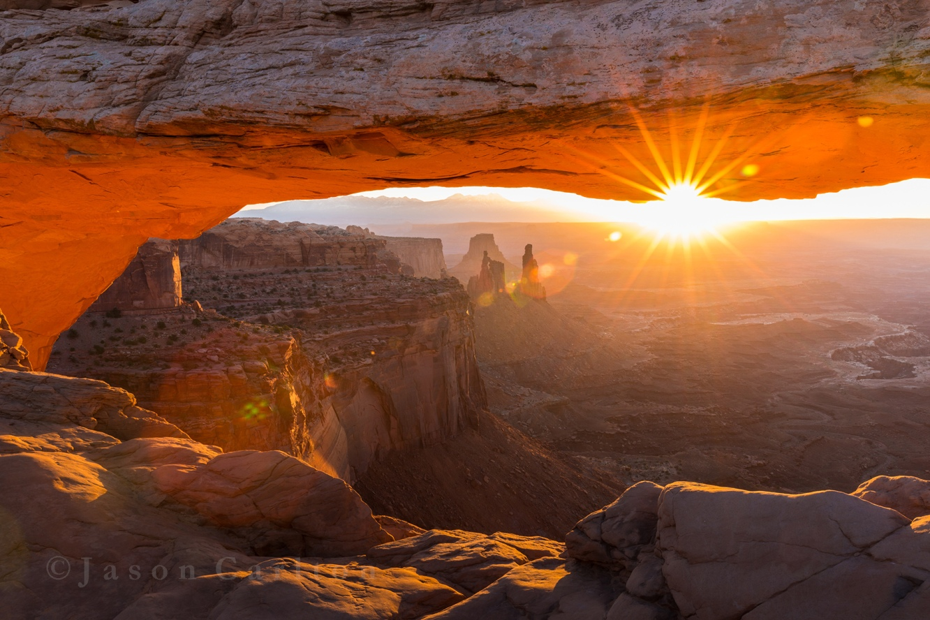 Mesa Arch Sunrise flare Canyonlands National Park Utah